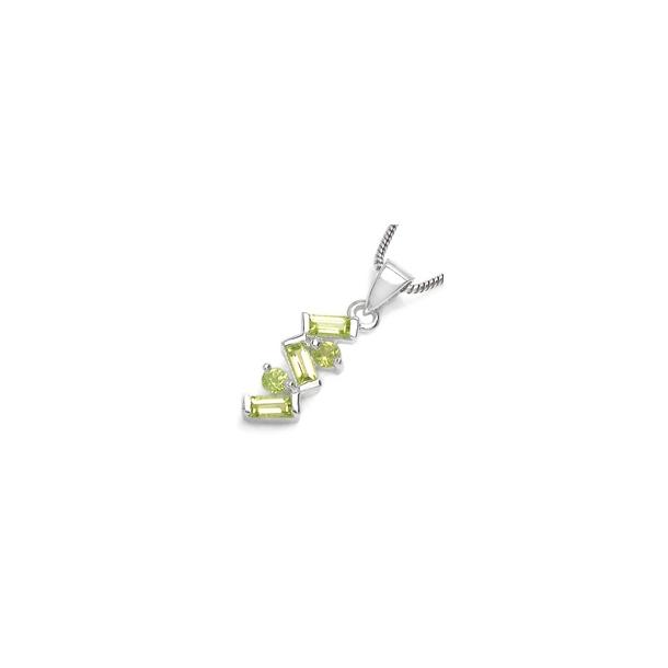 Vedhæng med 5 Peridot - 21mm - u/kæde