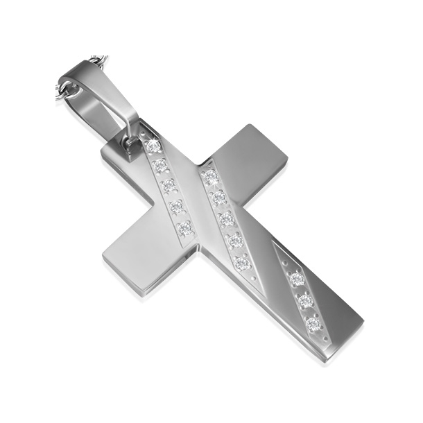Kors Vedhæng i stål - 62mm - u/kæde