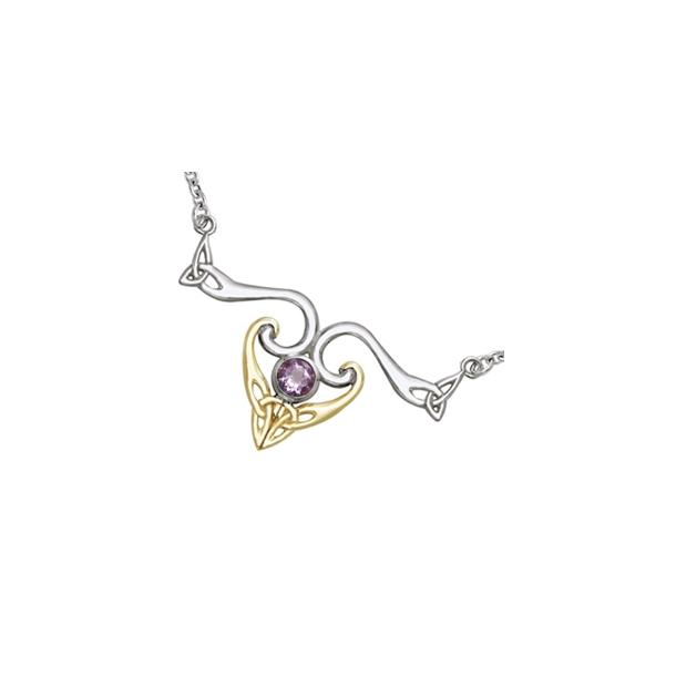 Halskæde med Triquetra - Treenighedssymbolet og Ametyst