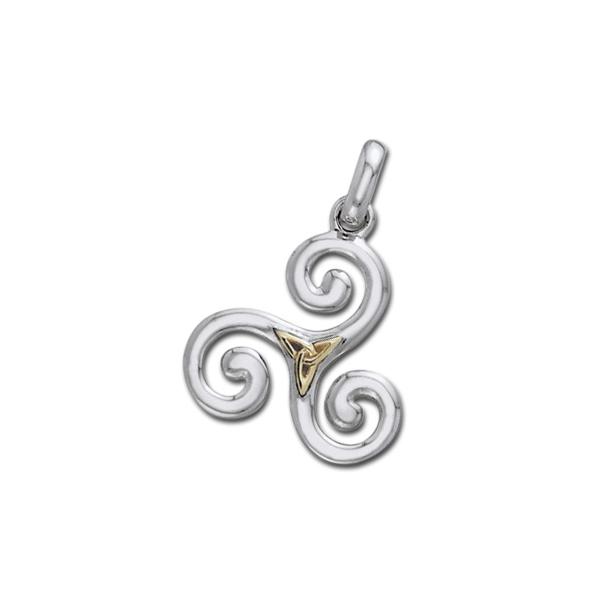 Vedhæng Triskele og Triquetra - Treenighedssymbolet - 24mm - u/kæde
