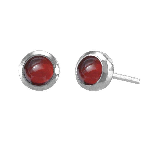 Ørestikker med Rød Granat - Ø6mm - pr par