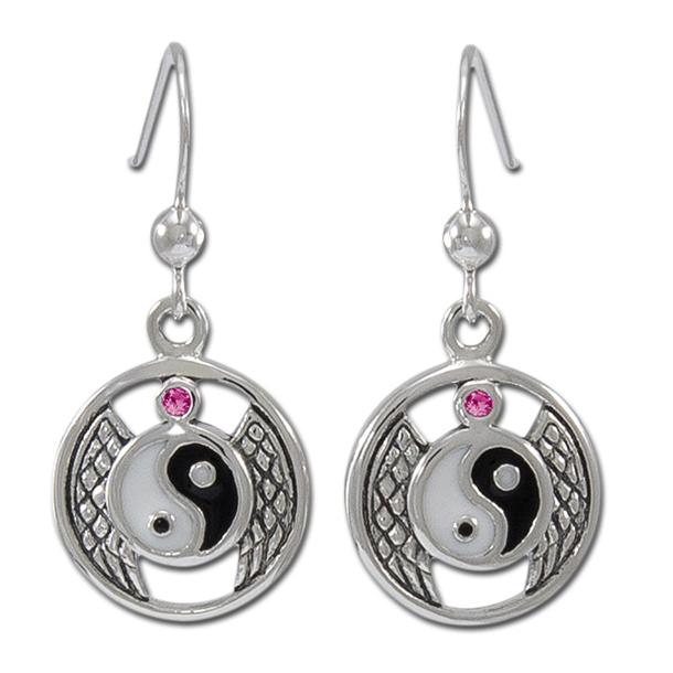 Øreringe Yin Yang med Rubin - pr par