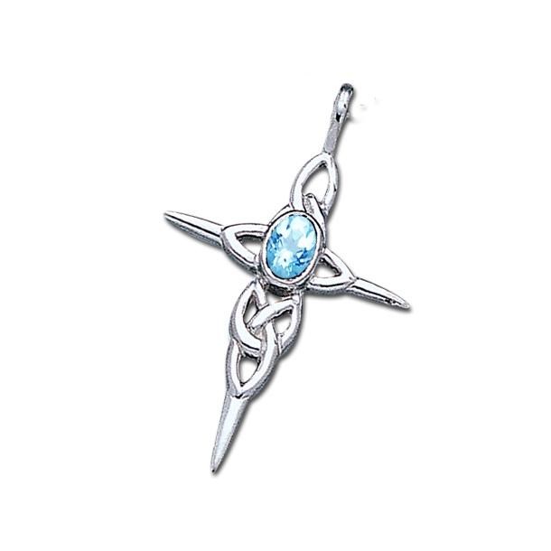 Keltisk kors med Blå Topas - u/kæde