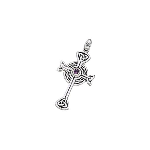 Keltisk kors med Ametyst - 43mm - u/kæde