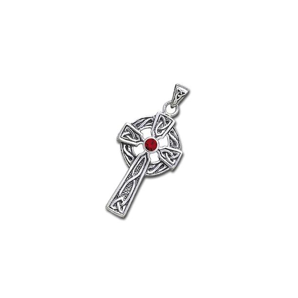 Keltisk kors med Rød Granat - 47mm - u/kæde