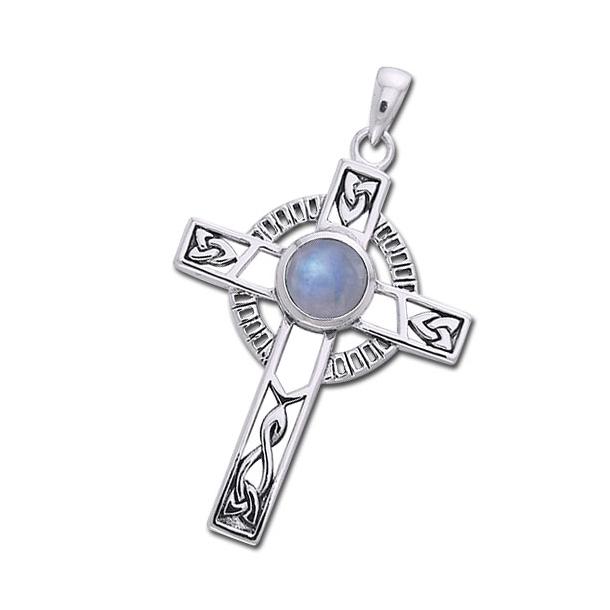 Keltisk kors med Månesten - 40mm - u/kæde