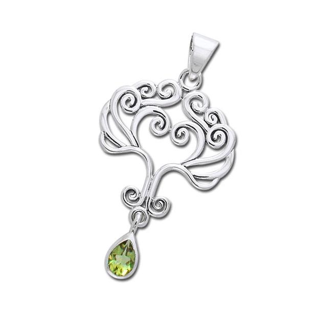 Vedhæng Livets Træ med Peridot - u/kæde