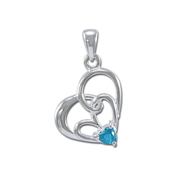 Vedhæng Hjerte med Blå Topas - u/kæde