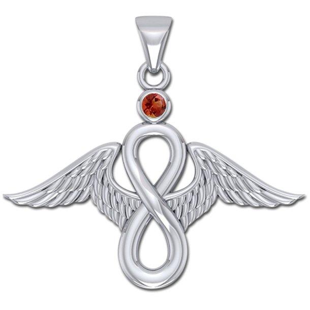 Englevinger - Uendelighedstegnet - vedhæng med Rød Granat - u/kæde
