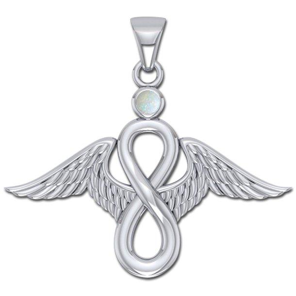 Englevinger - Uendelighedstegnet - vedhæng med Opal - u/kæde