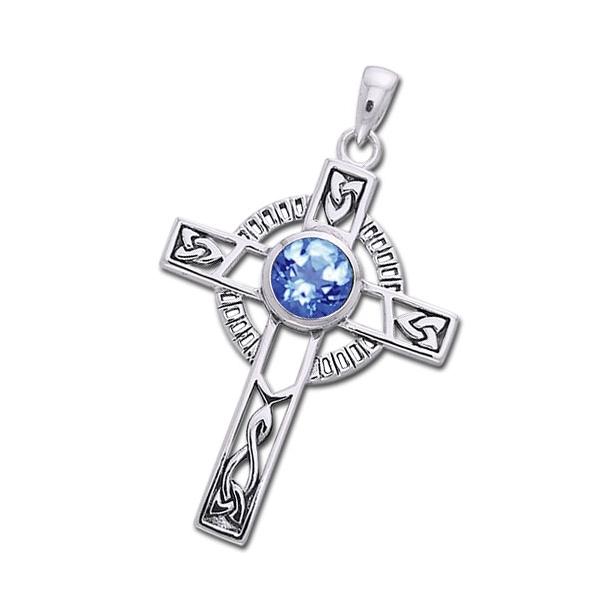 Keltisk kors med Safir - 40mm - u/kæde