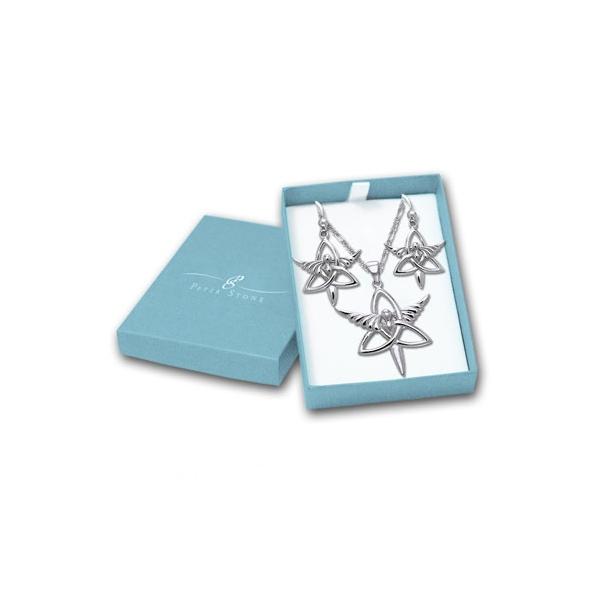 Smykkesæt Engel og Triquetra - Treenighedssymbolet - m/kæde