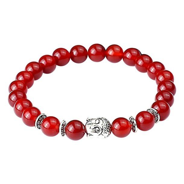 Buddha armbånd - Lykkearmbånd - Rød Agat