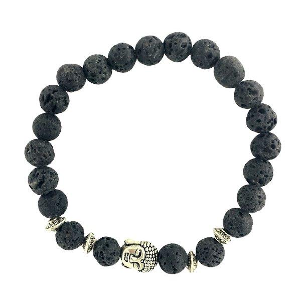 Buddha armbånd - Lykkearmbånd - Lavasten