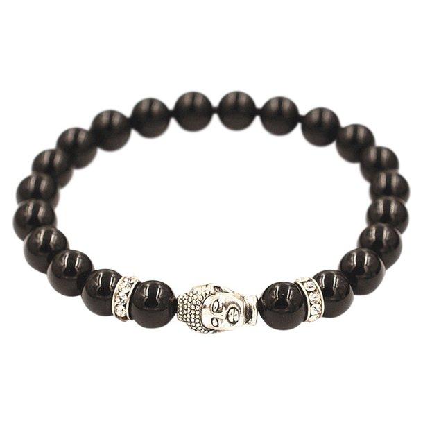 Buddha armbånd - Lykkearmbånd - Sort Agat