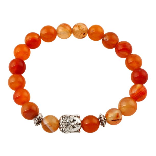 Buddha armbånd - Lykkearmbånd - Orange agat