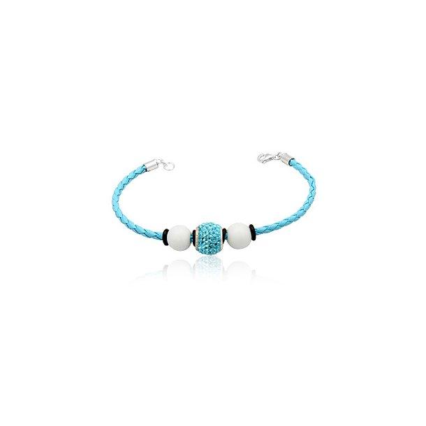 Læderarmbånd med Charm led og hvide glaskugler