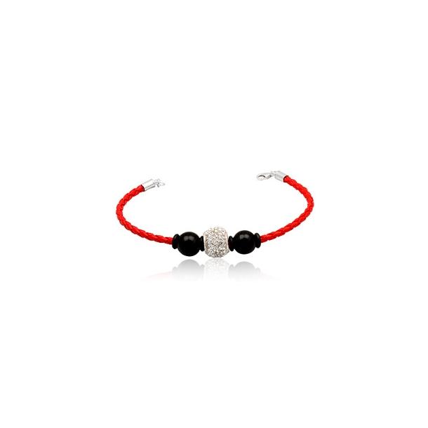 Læderarmbånd med Charm led og sorte glaskugler