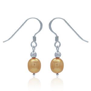 Perleøreringe med orange ferskvandsperle – 25mm – pr par