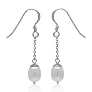 Perleøreringe med hvid ferskvandsperle – 34mm – pr par