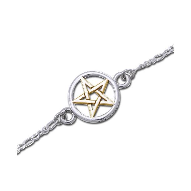 Armbånd med forgyldt Pentagram - 20,5cm
